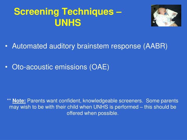 Screening Techniques – UNHS