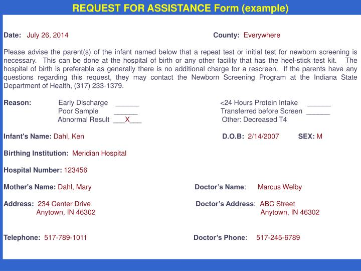 REQUEST FOR ASSISTANCE Form (example)