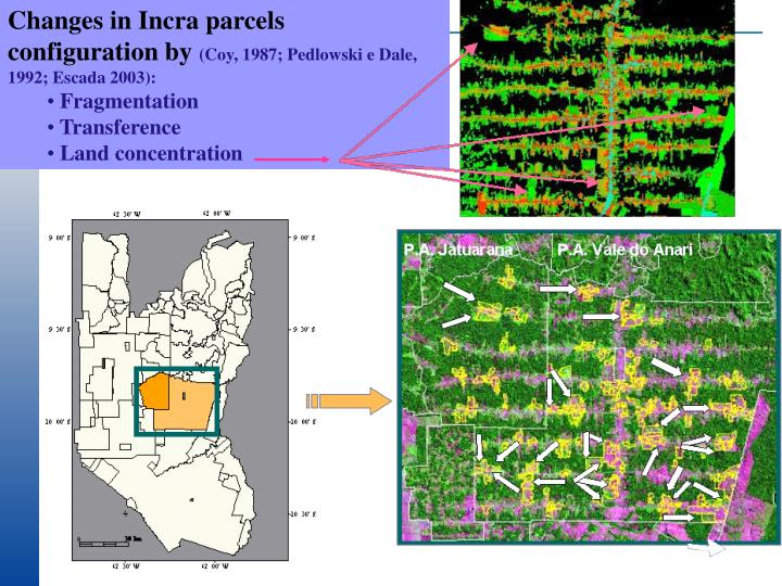 Changes in Incra parcels configuration by