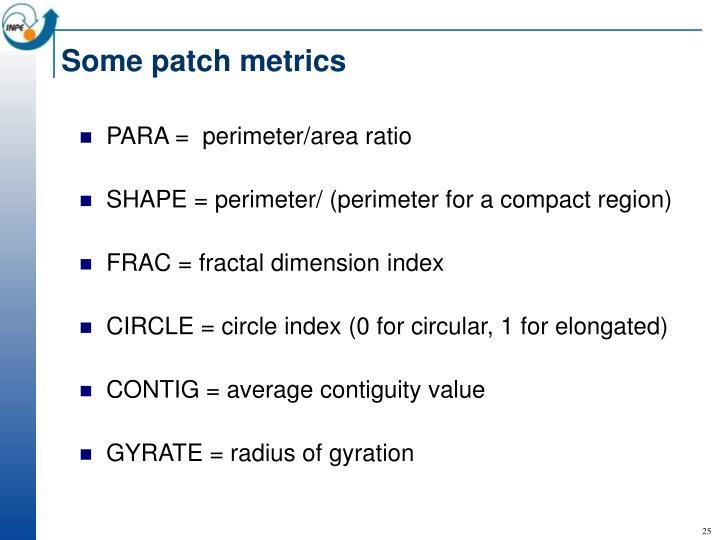 Some patch metrics