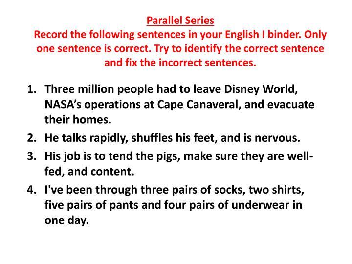 Parallel Series