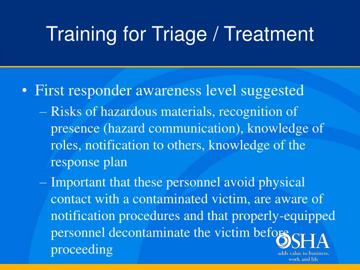 Training for Triage / Treatment