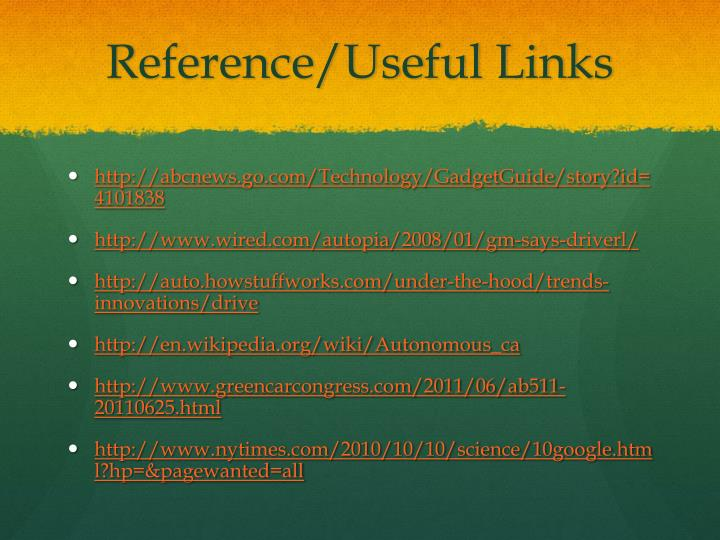 Reference/Useful Links