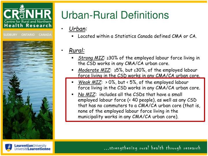 Urban-Rural Definitions