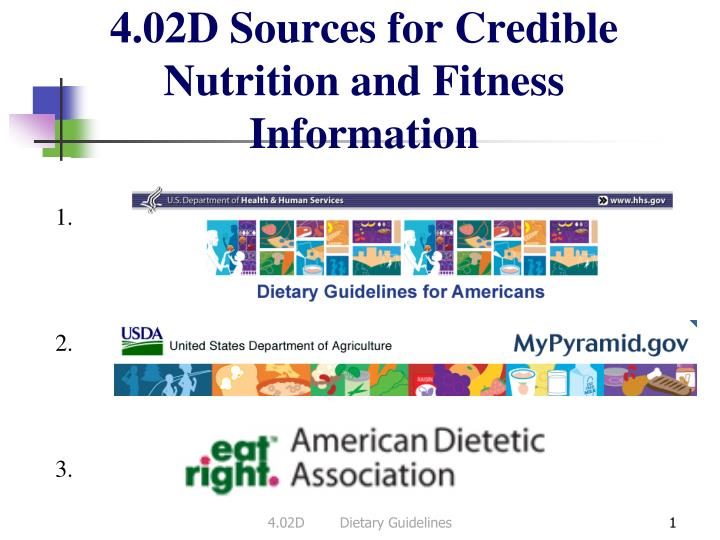 4 02d sources for credible nutrition and fitness information n.