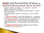 death and resurrection of jesus as powerfully affecting believers mtt 26 28 texts
