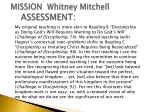 mission whitney mitchell assessment