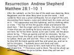 resurrection andrew shepherd matthew 28 1 10 1