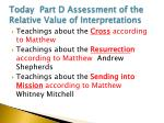 today part d assessment of the relative value of interpretations