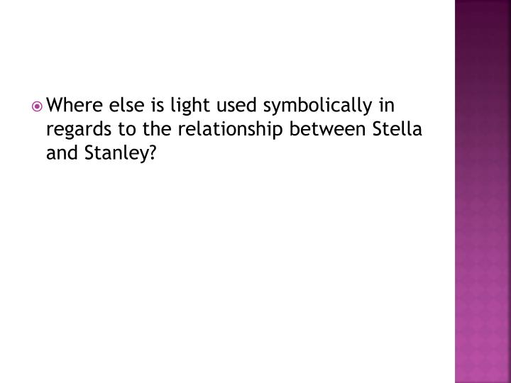 Where else is light used symbolically in regards to the relationship between Stella and Stanley?
