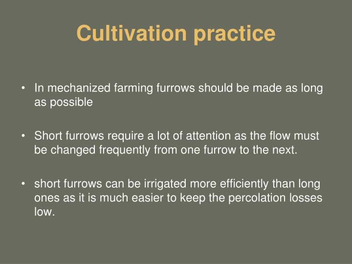 Cultivation practice