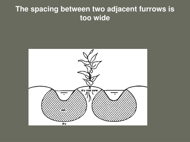 The spacing between two adjacent furrows is too wide