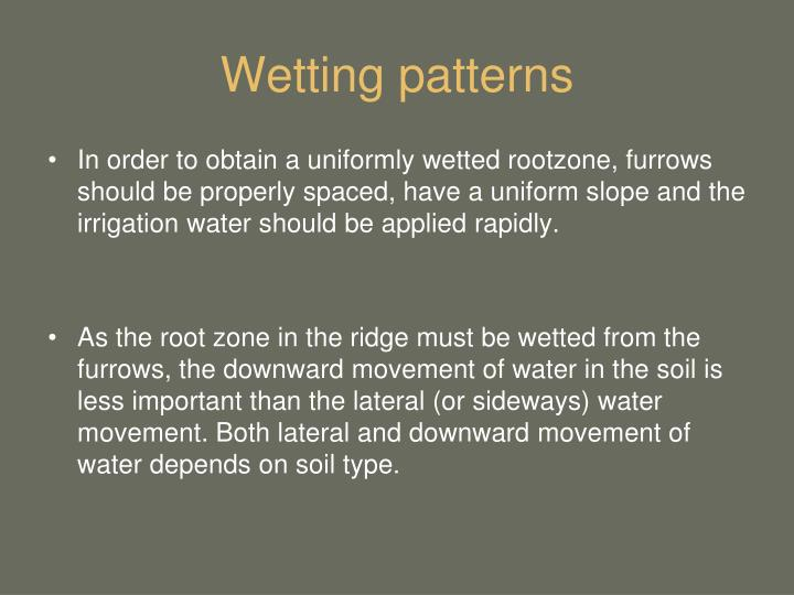 Wetting patterns