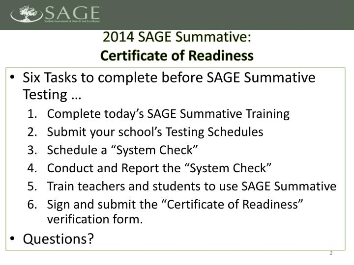 2014 sage summative certificate of readiness