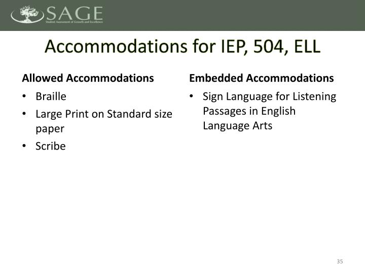 Accommodations for IEP, 504, ELL