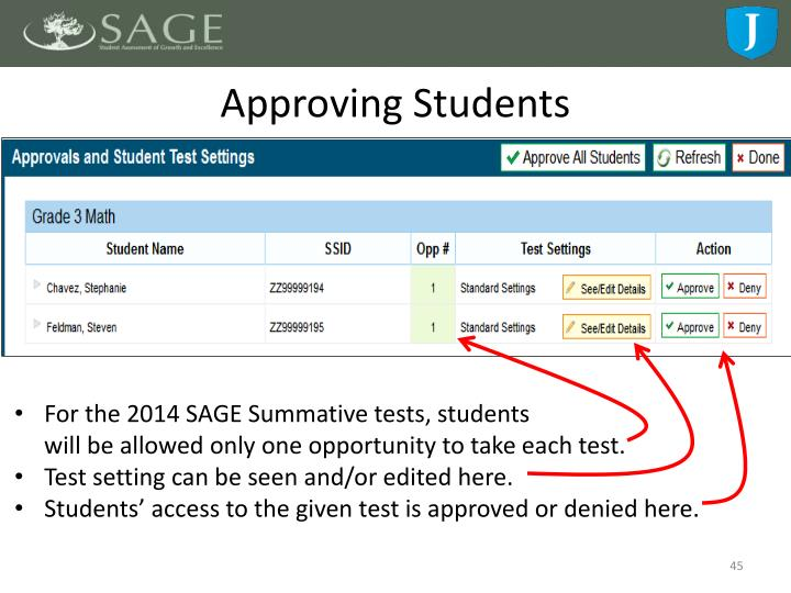 Approving Students