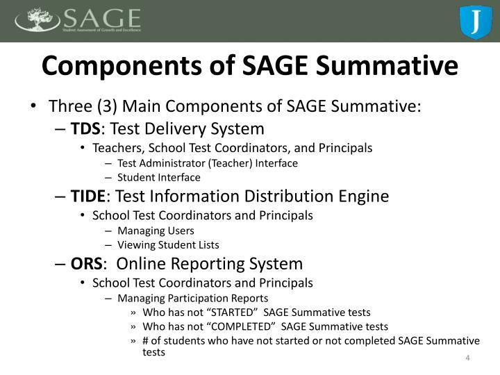Components of SAGE Summative