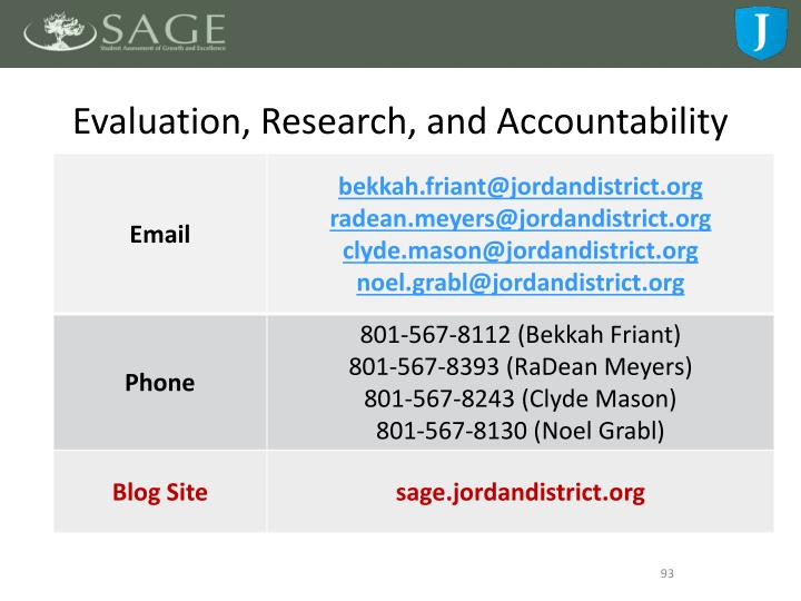 Evaluation, Research, and Accountability