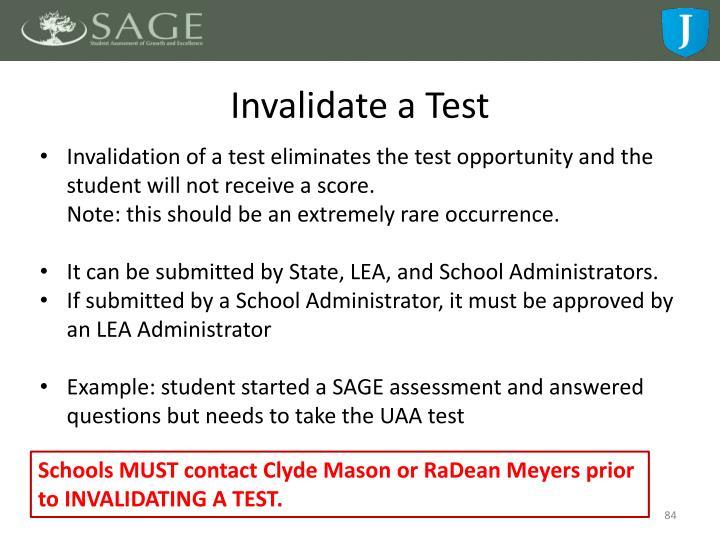 Invalidate a Test
