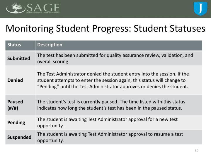 Monitoring Student Progress: Student Statuses