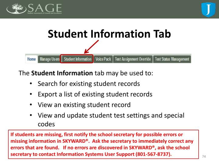 Student Information Tab