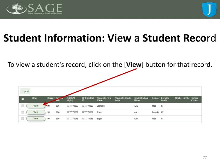 Student Information: View a Student Reco