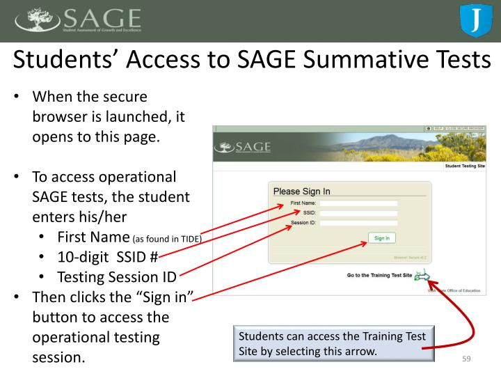 Students' Access to SAGE Summative Tests