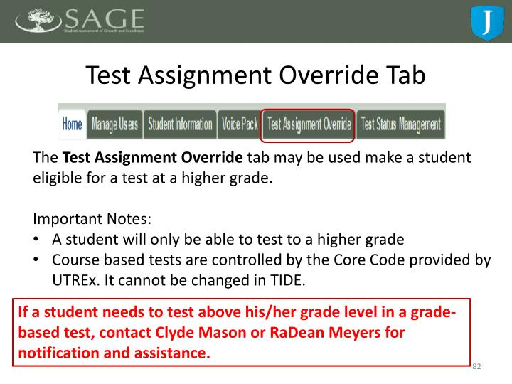 Test Assignment Override Tab