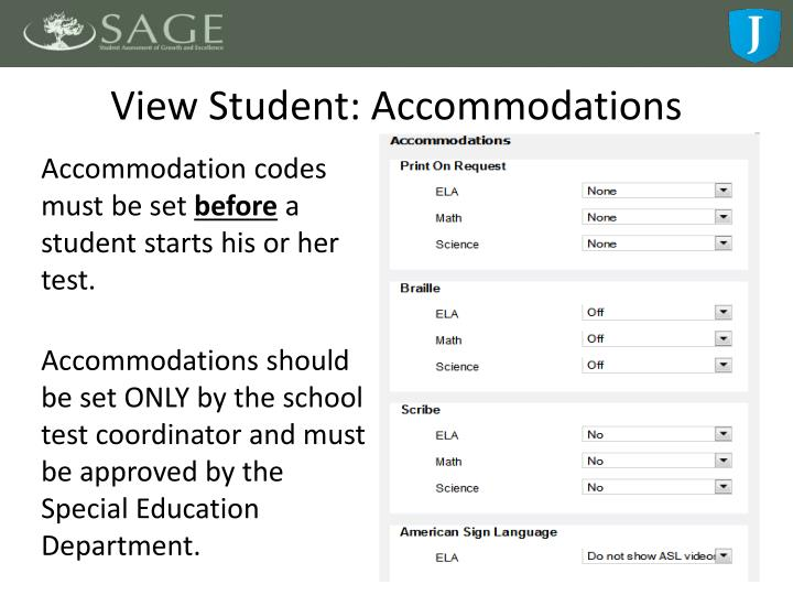 View Student: Accommodations