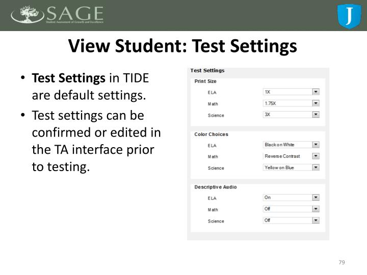 View Student: Test Settings
