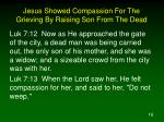 jesus showed compassion for the grieving by raising son from the dead