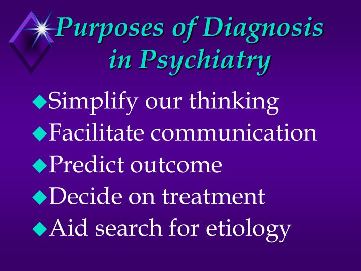 Purposes of diagnosis in psychiatry