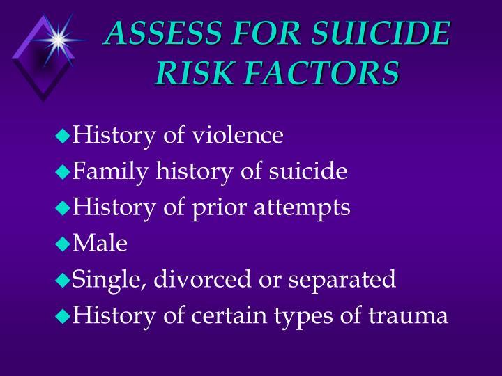 ASSESS FOR SUICIDE RISK FACTORS
