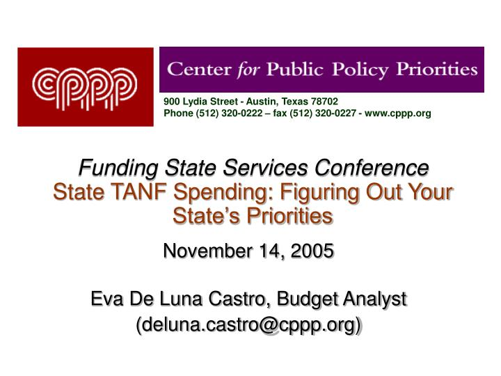 funding state services conference state tanf spending figuring out your state s priorities n.