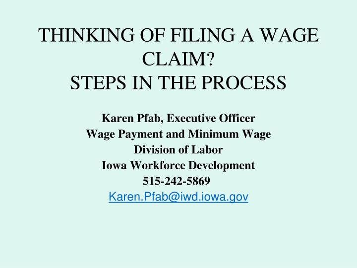 thinking of filing a wage claim steps in the process n.