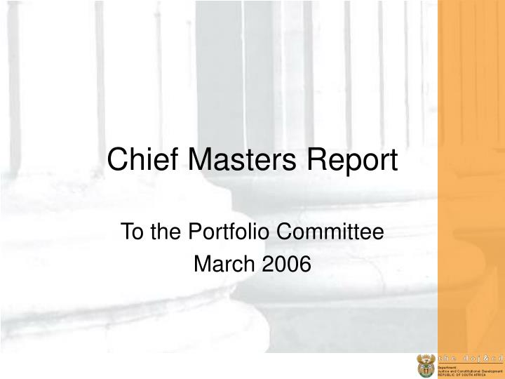 chief masters report n.