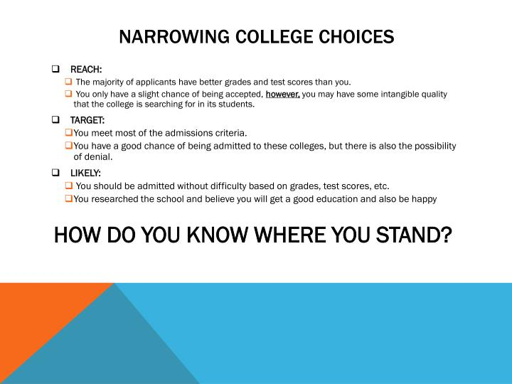 Narrowing college choices