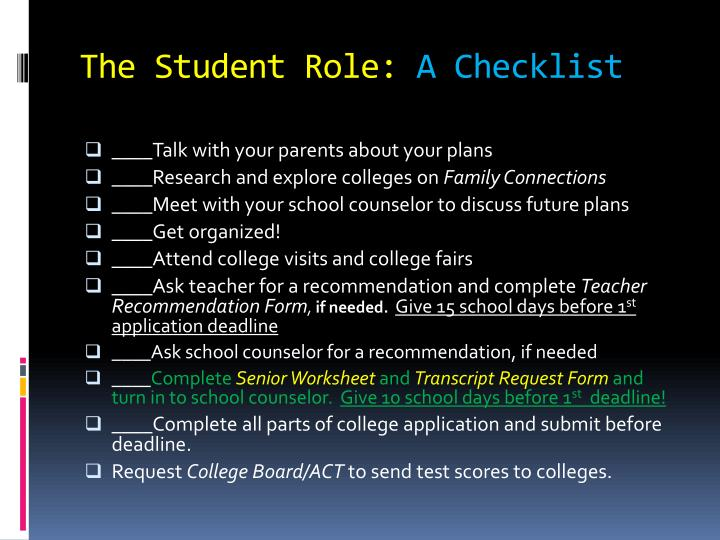 The student role a checklist