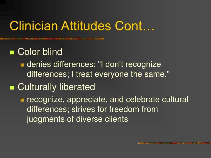 Clinician Attitudes Cont…