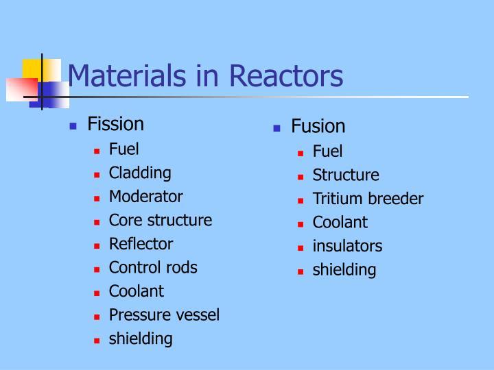 Materials in reactors