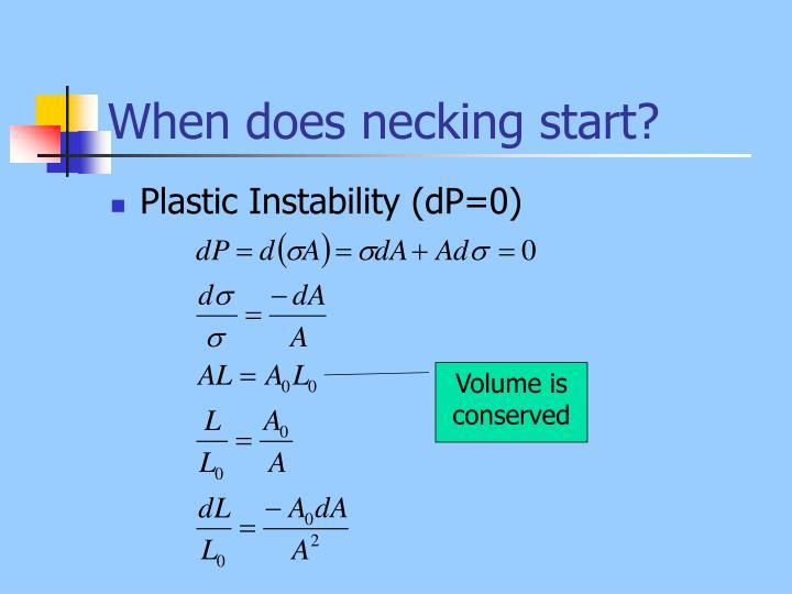 When does necking start?