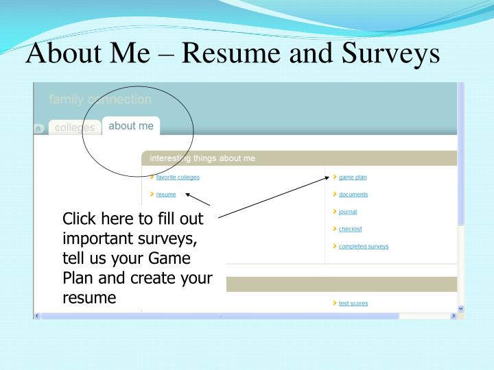 About Me – Resume and Surveys