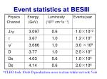 event statistics at besiii