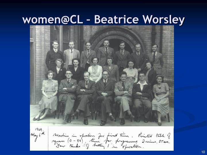 women@CL – Beatrice Worsley
