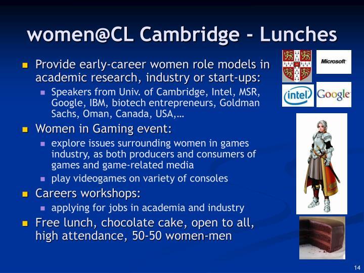 women@CL Cambridge - Lunches