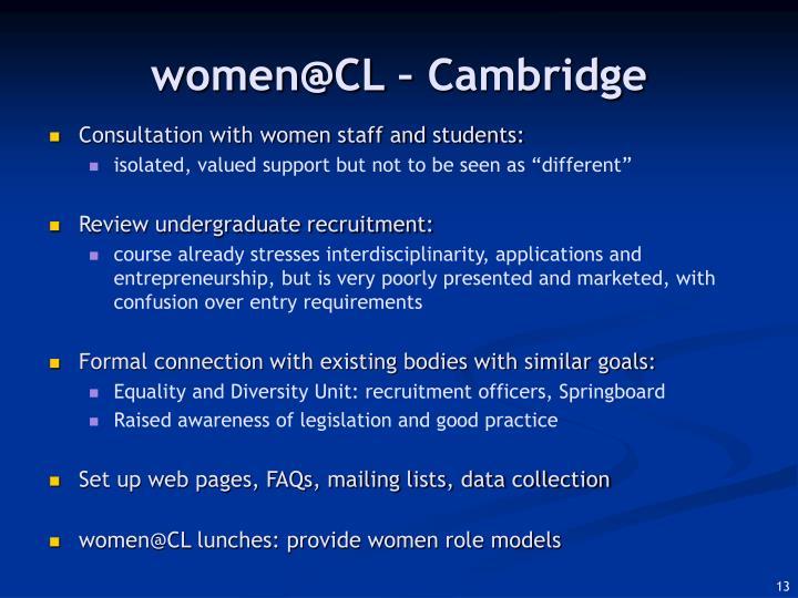 women@CL – Cambridge