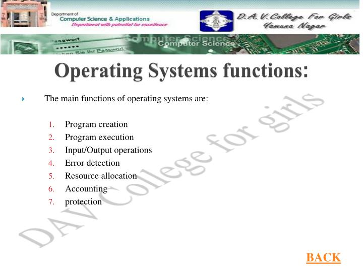 Operating Systems functions