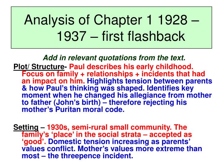 Analysis of Chapter 1 1928 – 1937 – first flashback