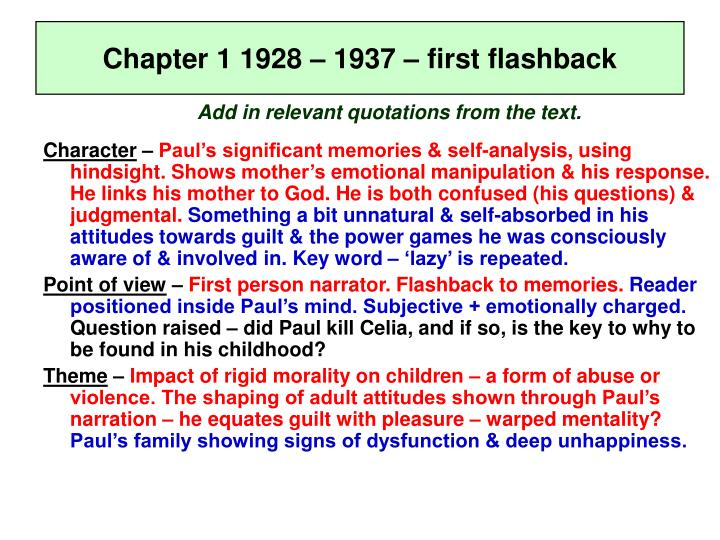 Chapter 1 1928 – 1937 – first flashback