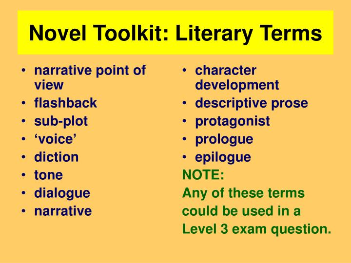 Novel toolkit literary terms